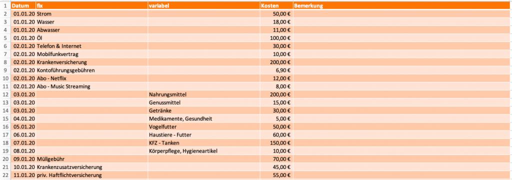 Excel-Haushaltsbuch - Ausgaben erfassen