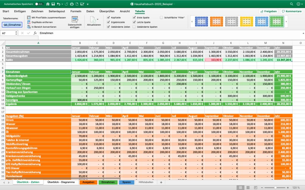 Excel-Haushaltsbuch selbst erstellen - Tabellen benennen und formatieren