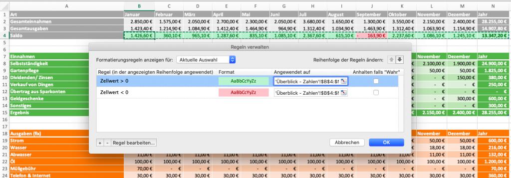 Excel bedingte Formatierung (Regeln)